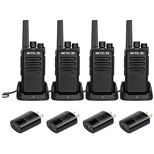 Retevis RT68 Walkie Talkies Rechargeable, Long Range 2 Way Radio,Two Way Radio Long Distance, VOX Hands Free Mini Small, for Adults Hunting Camping Events Plan (4 Pack)