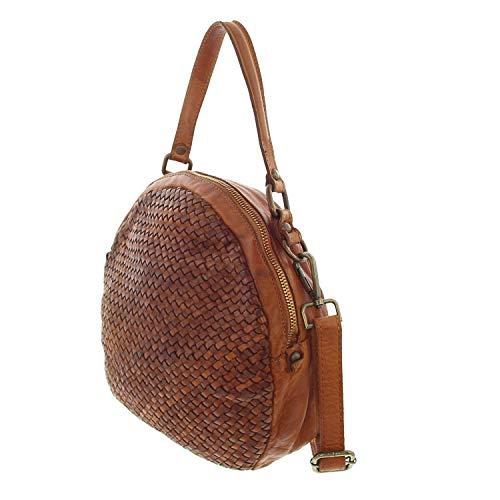 IO.IO.MIO kleine echt Leder Handtasche rund Vintage Schultertasche geflochten weich Cognac