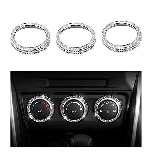 Anteprima Fit For Mazda Accessories Air Conditioner Control CX3 CX-3 CX5 CX-5 MX5 MX-5 Miata Interior Parts Decorations Silver 3 Pack (Color Name : Mazda AC Knobs Caps)