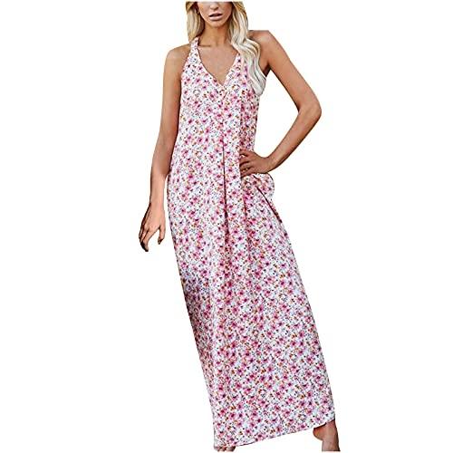 Vestido de verano para mujer Venta Liquidación Señoras Eslinga de Verano Rosa Impreso Mediados de Cintura Chaleco de Temperamento Vestido Largo Chic Vintage Étnico Vestido Suelto Talla Reino Unido