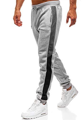 Lantch Herren Hosen Hose Sporthose Trainingshose Cargo Pants Jogginghose Sweatpants Jogger Mode Freizeit Laufen Streifen, M, Hellgrau