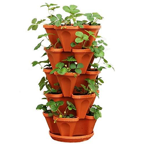 Fioriera a 5 ripiani impilabile, per piante di fragole, erbe, Fioriera impilabile per fioriera verticale multistrato a quattro petali in plastica con vassoio per fragole, orto, balcone, arancione
