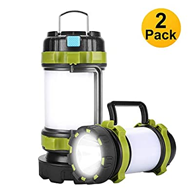 AlpsWolf Camping Lantern Rechargeable Camping Flashlight 4000mAh Power Bank,6 Modes, IPX4 Waterproof, Led Lantern Camping, Hiking, Outdoor Recreations, USB Charging Cable Included(2 Pack)
