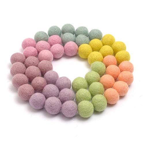 Glaciart One Felt Pom Poms, Wool Felt Balls (50 Pieces) 2 Centimeters - 0.8 Inch, Handmade Felted 7 Pastel Colors (Baby Pink, Lilac, Baby Blue and More) - Bulk Small Puff for Felting and Garland