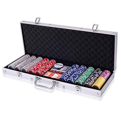 Costway Malette Poker Jetons Poker Ensemble de 300 Jetons 2 Jeux de Cartes 5 Dés 1 Bouton Dealer Mallette en Aluminium (Argent)