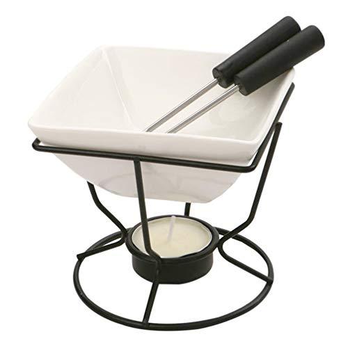BESTonZON 1 set chokladfondue keramik ostfondue gryta choklad smältpanna vax vattenbad smör smältkastrull induktion mini chokladfondue set ost fondue-set bakverktyg