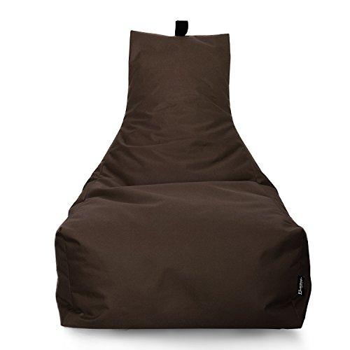 Lounge Sitzsack Liege Beanbag 32 Farben wählbar 90cm(Ø) Rückenlehne Bodenkissen Indoor Outdoor Sitzsäcke Gaming Kinder Bean Bag Erwachsene Riesensitzsack gefüllter Sessel (Braun)