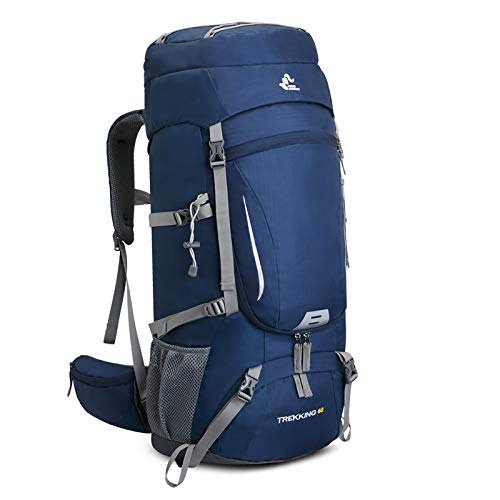65L Waterproof Lightweight Hiking Backpack with Rain Cover,Outdoor Sport Travel Daypack for Climbing Camping Touring (Blue)