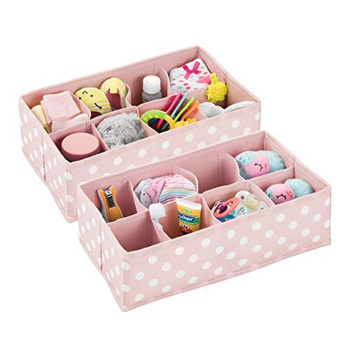mDesign Soft Fabric Dresser Drawer and Closet Storage Organizer for Child/Kids Room or Nursery - 8 Section Rectangular Organizer - Fun Polka Dot Print, 2 Pack - Pink with White Dots