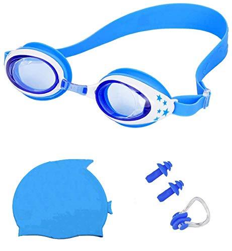 YFOX Kinder-Schwimmbrillen + Badekappe + Ohrstöpsel + Nasenclips sind sehr praktische Einrichtungen für Kinder. Verschleißfest und angenehm zu tragen. Kinderschwimmausrüstung ist Ihr ideales Produkt.