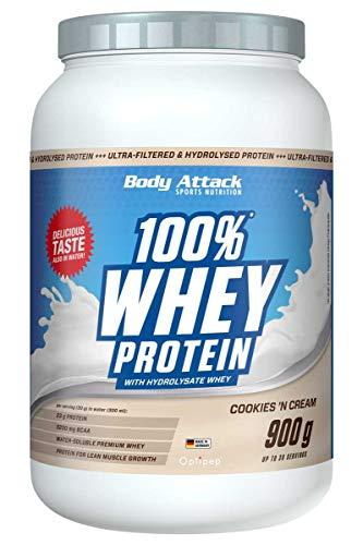 Body Attack - 100{057ab43cfbb6a95f0fe2cd5e0f064144393bee01b7fa2bf02e98ffaebf770e2d} Whey Protein, extra cremiges Eiweißpulver mit Hydrolysat und BCAA´s, unterstützt Muskelaufbau und Diäten, für alle Sportler & Athleten - Made in Germany – 900g (Cookies n Cream)