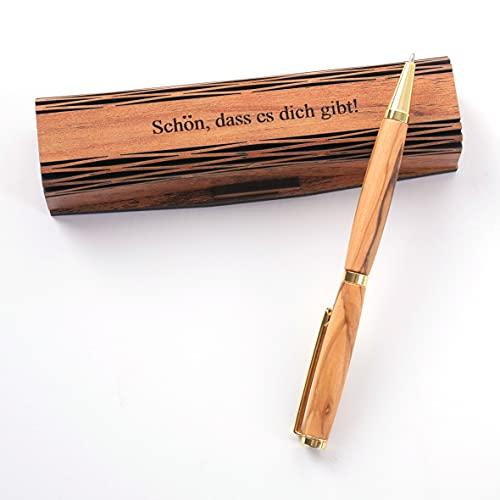 KASSIS Olivenholz Kugelschreiber in eleganter Holzschachtel Handgemacht mit schöner Maserung mit Gravur