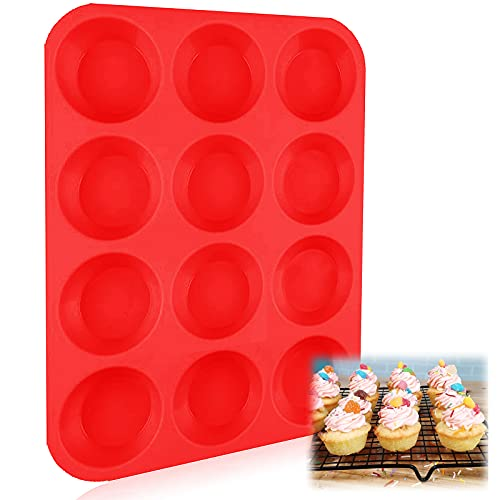Muffin Pans Nonstick Silicone Mini 12 Cups with Cupcake Liners Brush Spatula Value Set Reusable Baking Pans Food Grade Regular Size Molds for Toaster Oven (1 Pcs 12Cups Only)