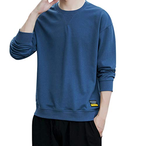 Amazing Deal Men's Fashion Long Sleeved Round Neck Solid Color Korean Style Casual Daily Slim Fit To...