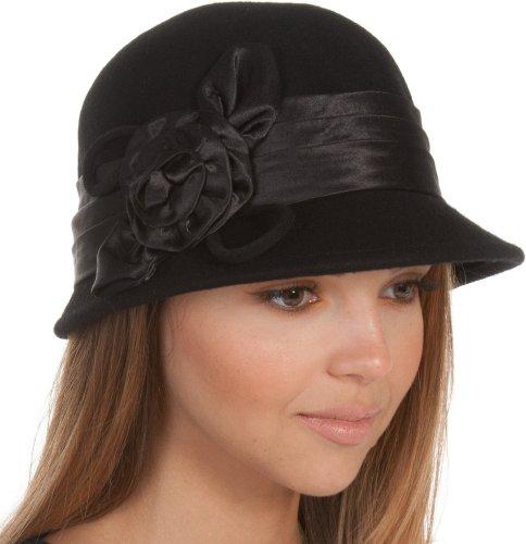 EH1121LC - Womens Vintage Style 100% Wolle Cloche Eimer Winter Hut mit Satin Blume Akzent (6 Farben) - Schwarz/One Size