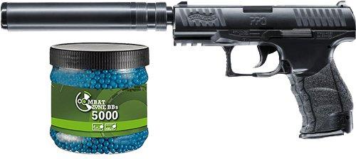 G8DS Set: Walther PPQ Navy Kit Federdruck Softair Pistole 6 mm BB 0,5 J + Umarex Combat Zone Softairkugeln blau 6mm 0,12g 5000 BBS