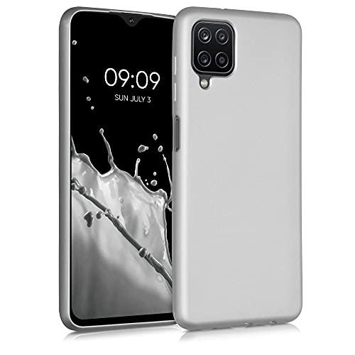 kwmobile Hülle kompatibel mit Samsung Galaxy A12 - Hülle Silikon metallisch schimmernd - Handyhülle Metallic Silber