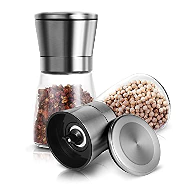 Adoric Salt and Pepper Grinder Set of 2, Brushed Stainless Steel Pepper and Salt Mill with Adjustable Ceramic Rotor - Salt and Pepper Shakers