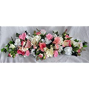 LINESS for Gorgeous Pink Arch Swag Wedding Centerpiece Silk Flowers Chuppah Table Runner DIY LINESS for Wedding Flowers, Petals & Garlands Floral Décor
