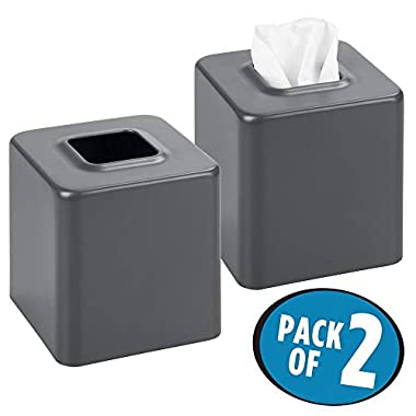 mDesign Square Paper Facial Tissue Box Cover Holder for Bathroom Vanity Countertops, Bedroom Dressers, Night Stands, Desks and Tables - Pack of 2, Steel, Matte Slate Gray