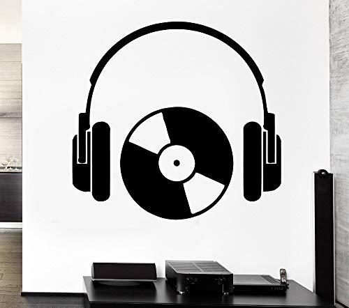 Hip Hop Style Headphone Music Series Etiqueta de la pared Cool Rock Headphone con CD Art Design Wall Mural Decal Art A4 28x43cm