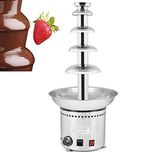 VEVOR 68CM/27.6 Inch Commercial Chocolate Fountain Machine for Weddings Parties Restaurants,32-230℉, 5 Tiers, Silver