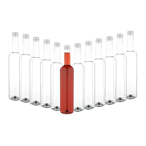 MamboCat 12er Set Glasflasche Pinta 500 ml + Schraubverschluss Silber I Abfüllen von Essig & Öl, Sirup, Most, Bier, Saft + Wein I große Likörflaschen rund