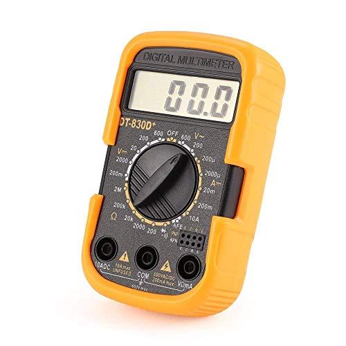 LKK-KK DT830D Digital + Mini multímetro digital de bolsillo 1999 puntos de AC/DC voltios amperios Ohm diodo HFE probador de continuidad del amperímetro del voltímetro precisa