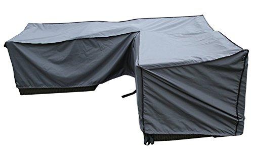 SORARA Schutzhülle gartenmöbel Abdeckung für Ecksofa | L Form Lounge abdeckplane | Grau | 270 x 210 x 85 x 65-90 | Wasserabweisend