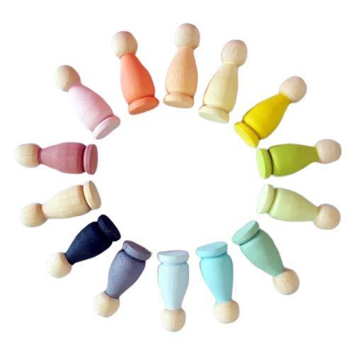 Ticumiku 12 Unidades  Peg Doll  de Madera de Haya Originals Serie Rainbow Jazz con bolsita de algodón de Regalo.