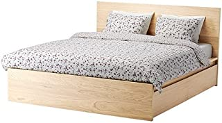 Ikea Full size High bed frame/4 storage boxes, white stained oak veneer, Leirsund 22386.231714.86