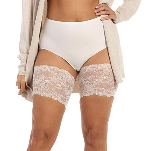 MAGIC BODYFASHION Damen Be Sweet to Your Legs Lace Halterlose Strümpfe, Weiß (Ivory 400), 42 (Herstellergröße: XX-Large)