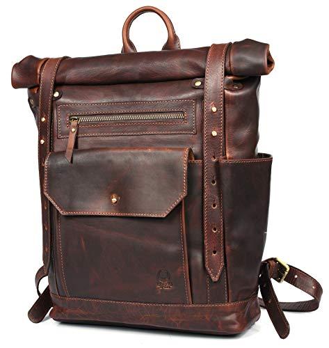Corno d´Oro Leder Rolltop Rucksack Groß für Damen und Herren I XL Kurierrucksack für 17 Zoll Laptop I Vintage Backpack Laptoprucksack Braun BP171