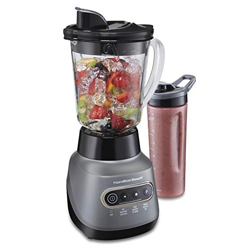 Hamilton Beach 58181 Blender to Puree, Crush Ice, and Make Shakes and Smoothies, 40 Oz Glass Jar, 6 Functions + 20 Oz Travel Container, Gray