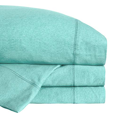Road Trip America Jersey Bed Sheet Set 100% Organic Cotton T-Shirt Soft Knit 4 Pieces Bedding - 1 Flat Sheet 1 Fitted Sheet 1 Pillow Case, GOTS Certified (Heathered Aqua, Full)