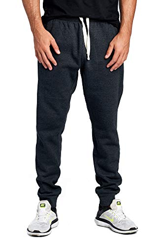ProGo Men's Casual Jogger Sweatpants Basic Fleece Marled Jogger Pant Elastic Waist (X-Large, Charcoal (Slanted Pocket))