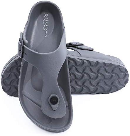 Seranoma Women's Thong Cork Sandal | Open Toe Slide | Flat Footbed, Brown Size 6
