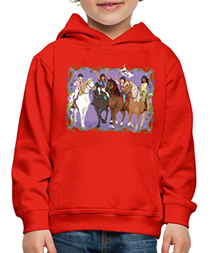 Schleich Horse Club Lisa Sarah Sofia Hannah reiten Kinder Premium Hoodie, 134-146, Rot