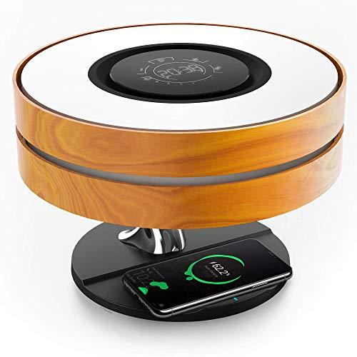 ZTLY Lámpara de cabecera con Altavoz Bluetooth y Cargador inalámbrico de 10 W, lámpara de Mesa con Reloj Digital, regulación de la luz sin electrodos y Modo de sueño