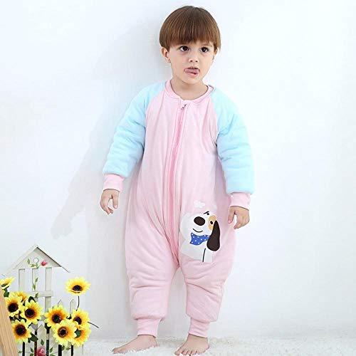 Baby-winterslaapzak, kinderslaapzak met gespleten pijpen, dunne katoenen anti-kick-quilt - Puppy roze plus katoenen slaapzak 80 cm, baby-inbakerdoek Warme wandelwagenomslag