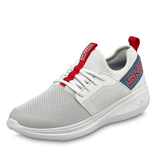Skechers Herren Go Run Fast Steadfast Slip On Sneaker, Weiß (White Textile/Blue & Red Trim Wblr), 45.5 EU