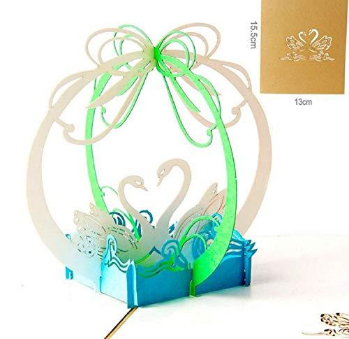 BC Worldwide Ltd handgemachte 3D-Pop-up Valentines Karte Schwan Paar Liebhaber Hochzeit Jubiläum Verlobung Krawatte ein Knoten Geburtstag Papercraft Liebe Land Einweihungsparty