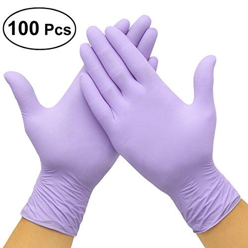 LUOEM Guantes Desechables de Nitrilo Multifuncional con Caja 100 Piezas Tamaño L (Violeta)