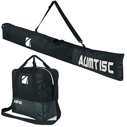 AUMTISC Skitasche und Skischuhtasche Combo - Skitaschen für Flugreisen - gepolsterte Schneeskitaschen passen für Skier bis zu 200 cm Pad Schwarz