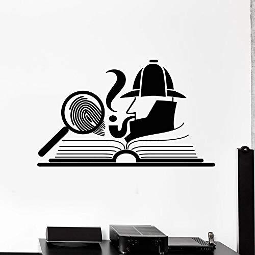 Art Decoration Detective Wall Magnifier Fingerprint Open Book Art Vinyl Bookstore Boy Decoration   Suitable for Children Girl Bedroom Kindergarten Party Wedding