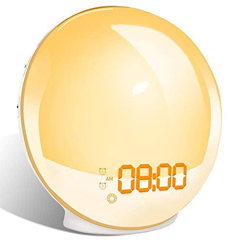 Wake Up Licht Lichtwecker Sonnenauf-untergang Simulation Tageslichtwecker mit Snooze Funktion & 7 Werktöne FM Radio & Adapter 20 Helligkeitsstufe 2 Wecker für Erwachsene & Kinder