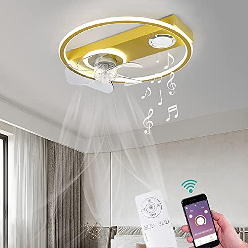 YHNJI Lámpara de Techo Fan Musical con Altavoz Bluetooth y Mando a Distancia Regulable Moderna Silencioso Fan Luz para Dormitorio Comedor Salón, Control de App, Timing, 3 Velocidades Ø50CM Dorado