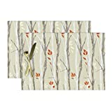 Roostery Cloth Placemats, Tree Branch Grey Wood Grain Texture Snow Scene Nature Out Natural Winter White Re Orange Red Woodland Birch Beech Wood Print, Cotton Sateen Placemats, Set of 2