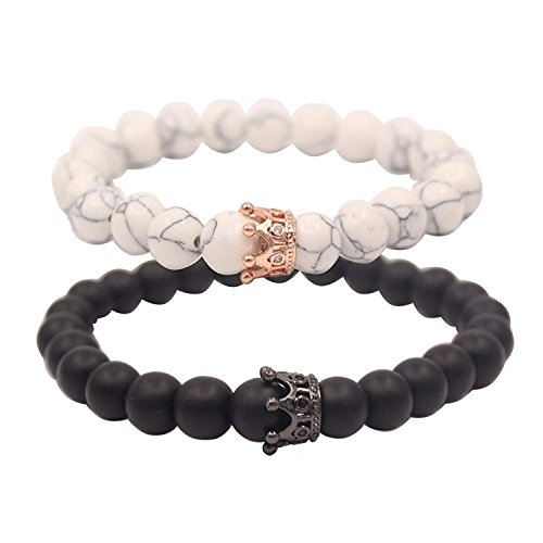 Gemini_mall Distance Bracelets King&Queen Crown Strong Elastic Friends Relationship Couples His Hers Black Agate Onyx White Howlite Bracelet (White & Black)