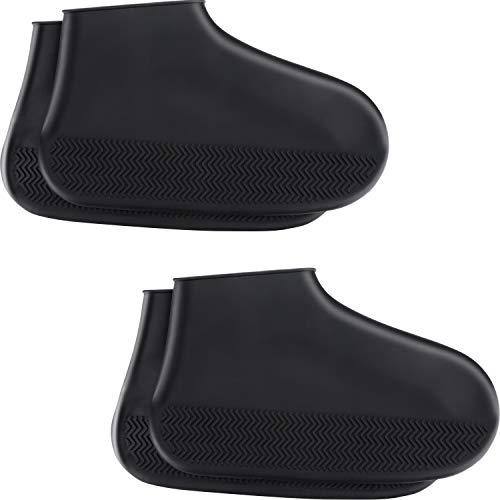 Hsei 2 Pares de Protectores de Zapatos Impermeables para Botas Reutilizables, Plegables, de Silicona, para Actividades en Interiores y Exteriores, Large